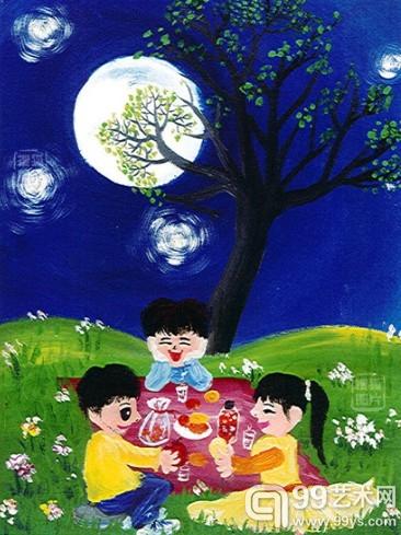 关于中秋节的水粉画